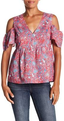 Lucky Brand Cold Shoulder Print Top