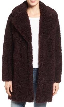 Women's Kensie 'Teddy Bear' Notch Collar Faux Fur Coat $198 thestylecure.com