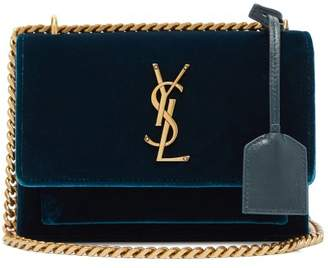 Saint Laurent Sunset Small Velvet Cross Body Bag - Womens - Dark Green