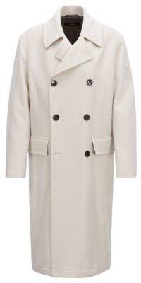 BOSS Hugo Relaxed-fit double-breasted coat in virgin wool 42R Natural