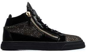 Giuseppe Zanotti Glittered Smooth And Patent-Leather High-Top Sneakers