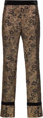 Lanvin Gold Cloque Straight Leg Pant