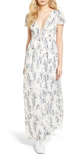 Women's Lucca Lattice Inset Floral Maxi Dress