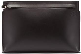 Loewe T Pouch Logo Stamped Leather Bag - Mens - Black
