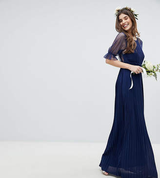 TFNC Pleated Maxi Bridesmaid Dress With Spot Mesh Frill Detail