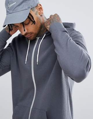 Asos DESIGN Longline Zip Up Hoodie In Charcoal