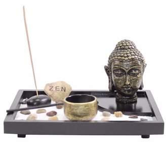 JuJu Smiling Tabletop Zen Garden Buddha Head Rock Rake Candle Holder Incense Burner Home Gift -D