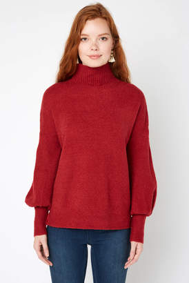 French Connection Puff Sleeve Orla Flossy Turtleneck Sweater Wine S