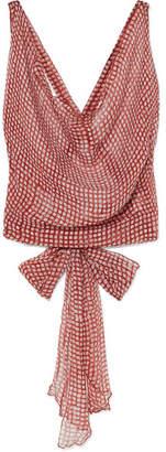 Santi Cloe Cassandro Cropped Printed Silk-chiffon Top