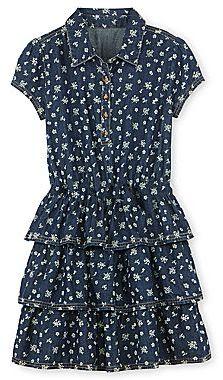 Arizona Tiered Print Denim Dress - Girls 6-16