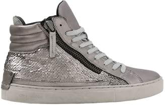 20mm Sequined Leather High Top Sneakers