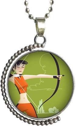 GiftJewelryShop Olympics female athlete shooting target Glass Cabochon Rotatable Lucky Pendant Necklace
