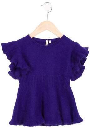 Bonnie Young Girls' Angora Ruffle Sweater