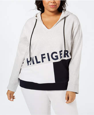 Tommy Hilfiger Plus Size Colorblocked Logo Hoodie