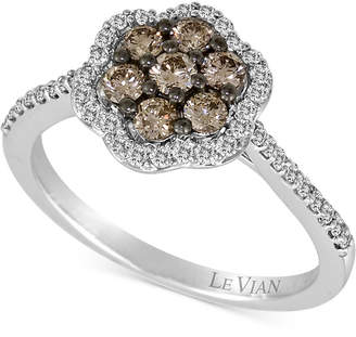 LeVian Le Vian Chocolatier Diamond Flower Cluster Ring (3/4 ct. t.w.) in 14k White Gold