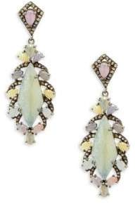 Multicolor Sapphire, Champagne Diamond & Sterling Silver Drop Earrings