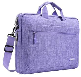 Mosiso Messenger Laptop Shoulder Bag for 15-15.6 Inch new MacBook Pro Notebook Compatible with 14 Inch Ultrabook Polyester Briefcase with Adjustable Depth at Bottom,Purple