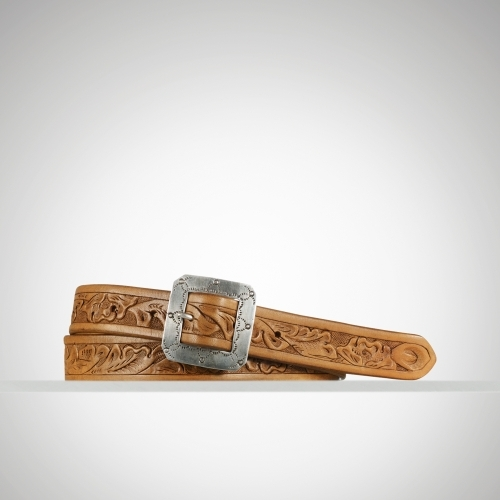 Ralph Lauren Tooled Leather Skinny Belt