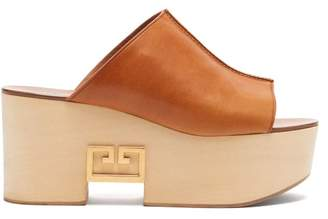 Givenchy Logo Plaque Platform Leather Mules - Womens - Tan