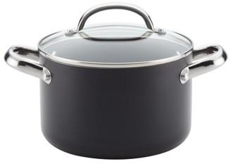 Farberware Buena Cocina Aluminum Nonstick Covered Soup Pot, 4-Quart, Black