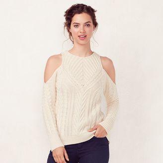 Women's LC Lauren Conrad Crewneck Cold-Shoulder Sweater $60 thestylecure.com