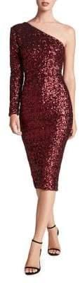 Dress the Population Chrissie Sequined One-Shoulder Dress