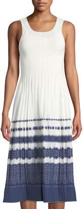 Max Studio Sleeveless Jacquard-Stripe Midi Dress