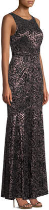 Laundry by Shelli Segal Lace & Sequin High-Neck A-Line Gown