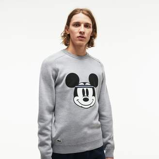 Lacoste Men's Crew Neck Disney Mickey Embroidery Interlock Sweater