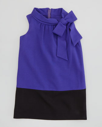 Milly Minis Bow-Neck Combo Ponte Dress, 2-6/7