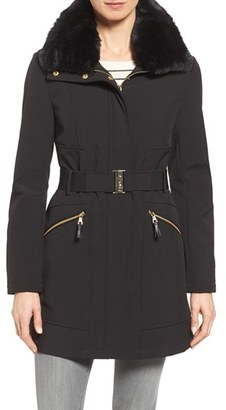 Women's Via Spiga Detachable Faux Fur Collar Soft Shell Coat $168 thestylecure.com