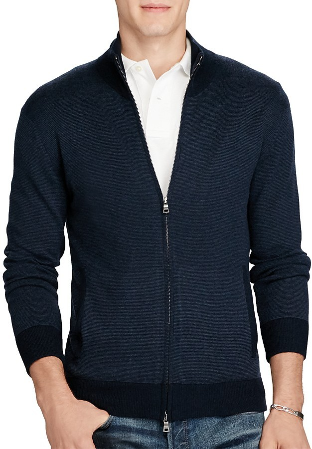 Polo Ralph Lauren Polo Ralph Lauren Merino Wool Striped Zip Cardigan Sweater