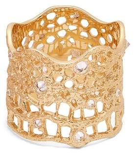 Aurelie Bidermann Fine Jewellery Fine Jewellery - Diamond, Aquamarine & Yellow Gold Ring - Womens - Yellow Gold