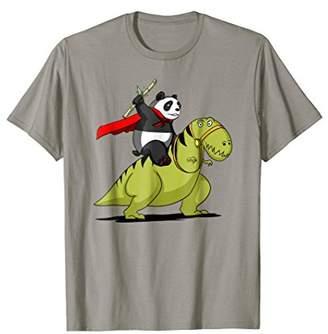 Panda Bear Riding T-Rex Dinosaur Funny T-Shirt