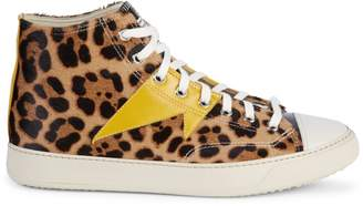 Ovadia & Sons Leopard-Print Leather & Calf Hair Platform Sneakers