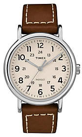 Timex Men's Weekender Brown Leather Strap Analog Watch