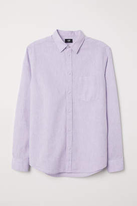 H&M Slim Fit Linen-blend Shirt - Purple
