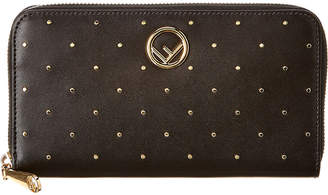 Fendi Micro Stud Zip Around Leather Wallet