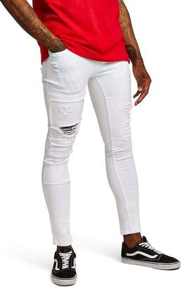 Topman Spray-On Skinny Fit Ripped Jeans