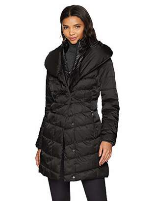 Kenneth Cole New York Women's Thigh Length Zip Puffer Jacket with Pillow Collar