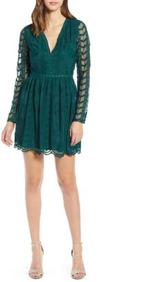 Socialite Long Sleeve V-Neck Lace Dress