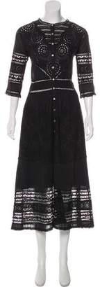 LoveShackFancy Crocheted Long Sleeve Maxi Dress