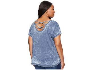 Allen Allen Plus Size Double Cross Back Tee Women's T Shirt