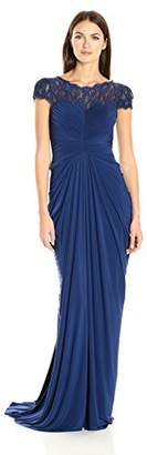 Adrianna Papell Women's Lace and Venechia Jersey Gown,4