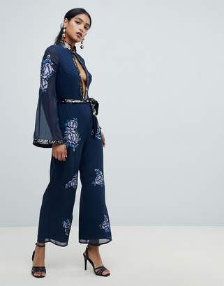 818a4d58ba5 Asos Design DESIGN Embellished Floral Keyhole 70 s jumpsuit
