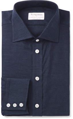 Kingsman Turnbull & Asser Navy Slim-Fit Cotton and Cashmere-Blend Twill Shirt - Men - Navy