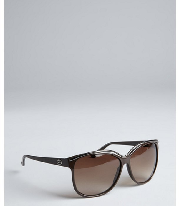 Gucci dark brown acrylic oversize cateye sunglasses