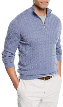 Brunello Cucinelli Men's Cabled Cashmere Quarter-Zip Sweater