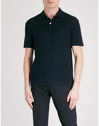 Sandro Slim-fit linen-jersey polo shirt