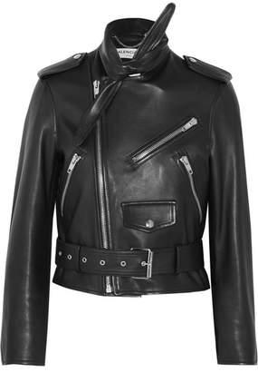 Balenciaga Scarf Leather Biker Jacket - Black
